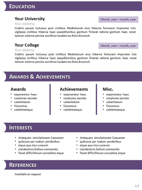 Purple Curriculum Vitae Template for PowerPoint