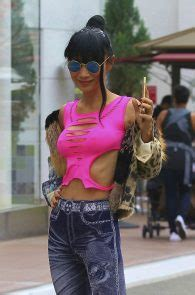 Bai Ling Braless Nipple Pokes While Shopping In West