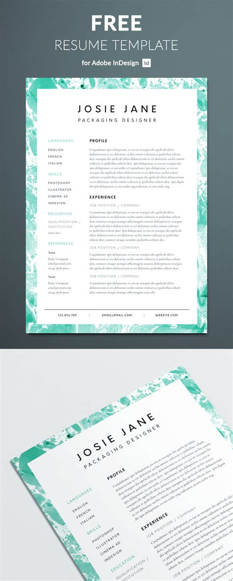 Creative Resume Template | Free InDesign Templates